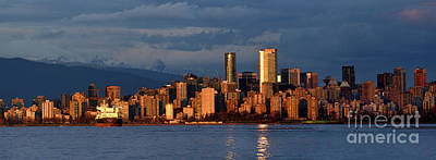 Wild Horse Paintings - Vancouver West End Skyline At Sunset 2021 by Terry Elniski