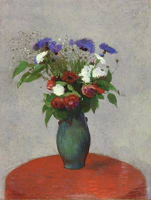Up Up And Away - Vase of Flowers on a Red Tablecloth 1900 01 by Odilon Redon 1840  1916 by Artistic Rifki