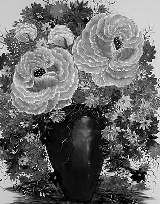 Moody Trees - Vase of heavenly love greyscale  by Angela Whitehouse