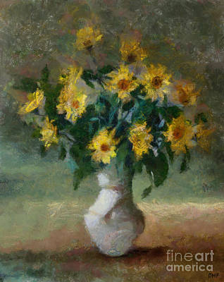 Thomas Kinkade - Vase With Black-Eye Susans by Dragica Micki Fortuna
