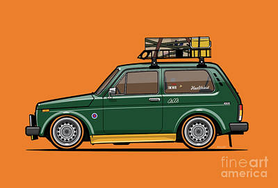 Digital Art - VAZ 2121 LADA Niva 4x4 Green Low And Slow by Monkey Crisis On Mars