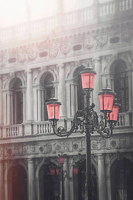 Royalty-Free and Rights-Managed Images - Venetian Street Lamp Piazza San Marco Selective Color  by Carol Japp