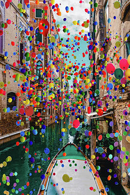 Irish Leprechauns - Venice and Balloons a by Ahmet Asar by Celestial Images