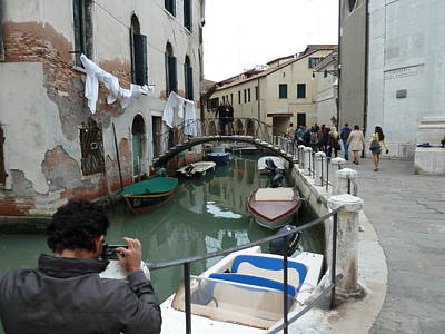 Photograph - Venice Canal and Washing Line by Jo Johnson
