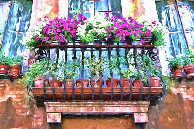 Car Photos Douglas Pittman - Venice Flower Balcony - Photopainting by Allen Beatty