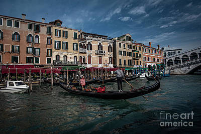 State Word Art - Venice-gondola Traffic by Judy Wolinsky