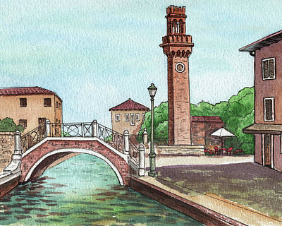 Royalty-Free and Rights-Managed Images - Venice Italy Murano Island Canal And Tower by Irina Sztukowski