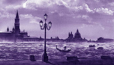 Royalty-Free and Rights-Managed Images - Venice Silhouette Grand Canal Gondola Italy In Lilac Purple Watercolor  by Irina Sztukowski