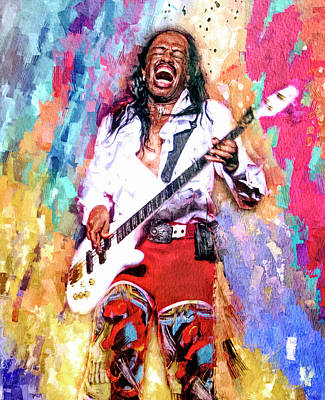 Mixed Media Royalty Free Images - Verdine White Bass Guitar Royalty-Free Image by Mal Bray