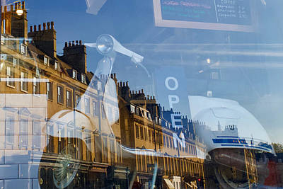 Purely Purple - Vespa in a shop front window with a reflection of the Bladud Buildings, Bath, Somerset, England. by Joe Vella