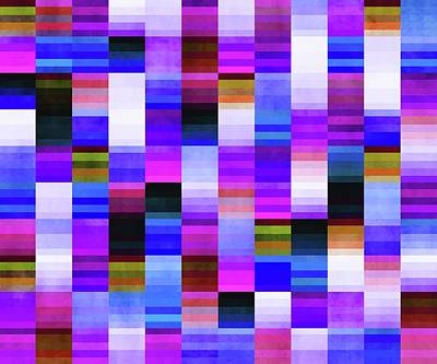 Royalty-Free and Rights-Managed Images - Vibrant 70s Glitch Pattern - Blue and Purple by Studio Grafiikka