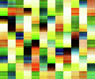 Gaugin Rights Managed Images - Vibrant Geometric Glitch Pattern - Chartreuse, Green Royalty-Free Image by Studio Grafiikka