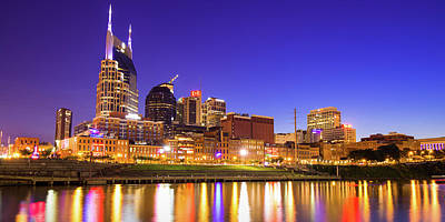 Royalty-Free and Rights-Managed Images - Vibrant Lights Over the Nashville Skyline - Nashville Tennessee Panorama by Gregory Ballos