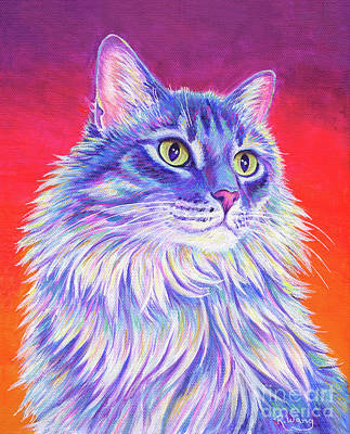 Painting - Vibrant Longhaired Gray Tabby Cat by Rebecca Wang