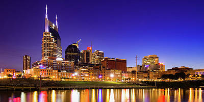Royalty-Free and Rights-Managed Images - Vibrant Music City Skyline Panorama on Nashvilles Cumberland River by Gregory Ballos