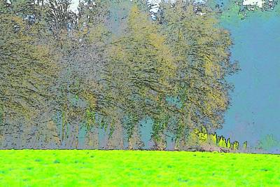 Jerry Sodorff Royalty-Free and Rights-Managed Images - Vibrant Wheat Field Trees In Background by Jerry Sodorff