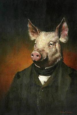 Recently Sold - Surrealism Royalty Free Images - Victorian Pig Royalty-Free Image by Michael Thomas