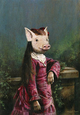 The Beach House - Victorian Piglet Girl by Michael Thomas