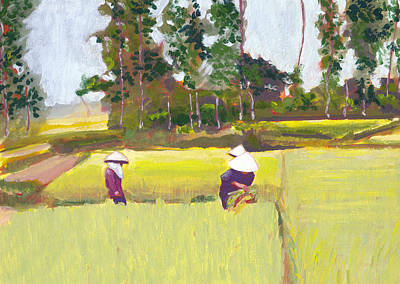 Painting - Vietnamese Paddy Fields by Tina Lewis