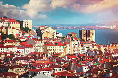Giuseppe Cristiano - View Across The City Of Lisbon Portugal by Carol Japp