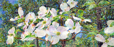 Popstar And Musician Paintings - View Beyond Dogwood-flowering dogwood by Hailey E Herrera