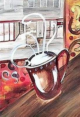 Comic Character Paintings - View from the Cafe by Rosalie Garde