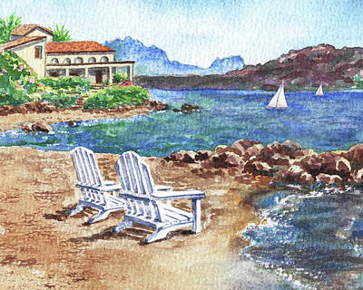 Sara Habecker Folk Print - View Just For Two Paradise With Two Beach Chairs And Sailboats  by Irina Sztukowski