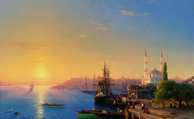 1920s Flapper Girl - View of Constantinople and the Bosphorus by Ivan Konstantinovich Aivazovsky