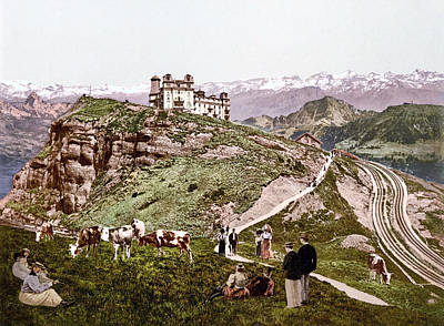 Royalty-Free and Rights-Managed Images - View of the Schwyz Alps from Rigi Kulm, Schwyz, Switzerland 1890. by Joe Vella