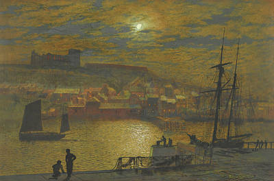 World Forgotten Rights Managed Images - View of Whitby from Scotch Head, Moonlight on the Esk Royalty-Free Image by John Atkinson Grimshaw
