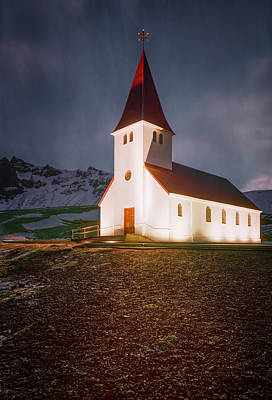Fun Patterns - Vik Church Iceland II by Joan Carroll