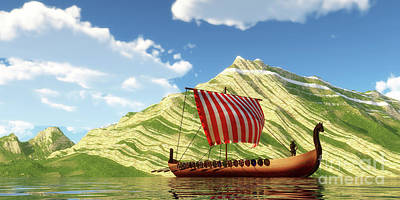 World Forgotten Rights Managed Images - Viking Ship and Sail Royalty-Free Image by Corey Ford