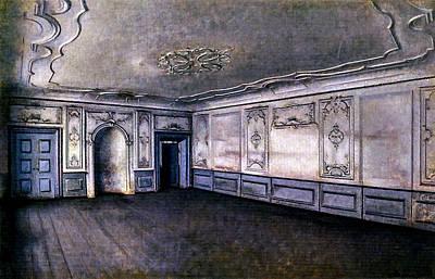 Keith Richards - Vilhelm Hammershoi interior of the great hall in lindegrden kalundborg by Artistic Rifki