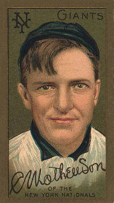 Sports Paintings - Vintage Baseball Card - Christopher Mathewson by David Hinds