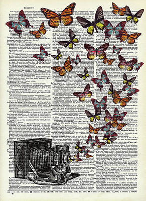 Vintage Diner Cars - Vintage camera with butterflies on dictionary page by Mihaela Pater
