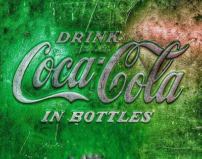 Royalty-Free and Rights-Managed Images - Vintage Coca Cola Vending Machine Signage - Green by Marianna Mills