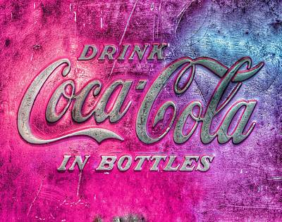 Royalty-Free and Rights-Managed Images - Vintage Coca Cola Vending Machine Signage - Pink by Marianna Mills