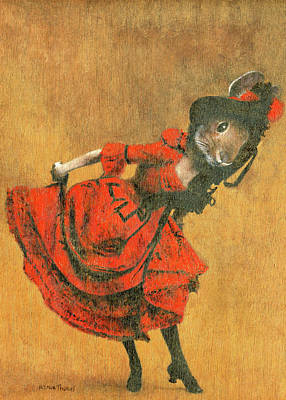 Animal Portraits - Vintage Dancing Rabbit by Michael Thomas