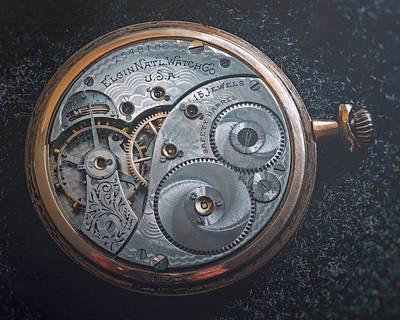 Steampunk Royalty-Free and Rights-Managed Images - Vintage Elgin Pocket Watch by Scott Norris
