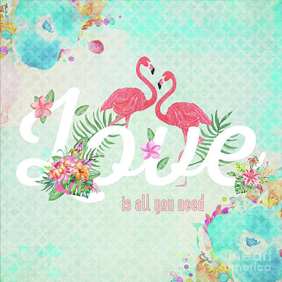Abstract Royalty-Free and Rights-Managed Images - Vintage Flamingos - Love Is All You Need Is Love by Amanda Lakey