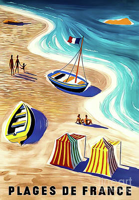 Drawings Royalty Free Images - Vintage French Beach Poster 1956 by Villemot  Royalty-Free Image by M G Whittingham