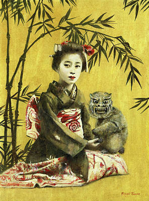 Royalty-Free and Rights-Managed Images - Vintage Geisha And Demon by Michael Thomas