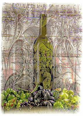 Lori A Cash Royalty-Free and Rights-Managed Images - Vintage Grape Digital Wine Art by Lori A Cash