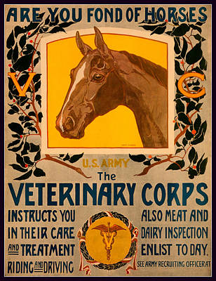 Animals Royalty-Free and Rights-Managed Images - Vintage Horse Poster - 1919 by David Hinds