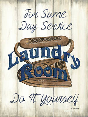 Comic Character Paintings - Vintage Laundry Room Indigo 1 by Debbie DeWitt