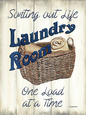 Grace Kelly - Vintage Laundry Room Indigo 2 by Debbie DeWitt