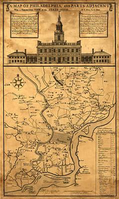 Sara Habecker Folk Print - Vintage Map of Philadelphia - Circa 1752  by David Hinds