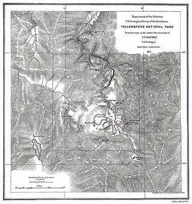 Thomas Kinkade - Vintage Map of Yellowstone National Park - 1871 by F V Hayden
