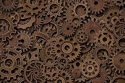 Steampunk Royalty-Free and Rights-Managed Images - Vintage metal brass gears by Julien