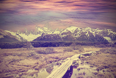 Royalty-Free and Rights-Managed Images - Vintage picture of Andes, Fitz Roy mountain range, Argentina  by Julien